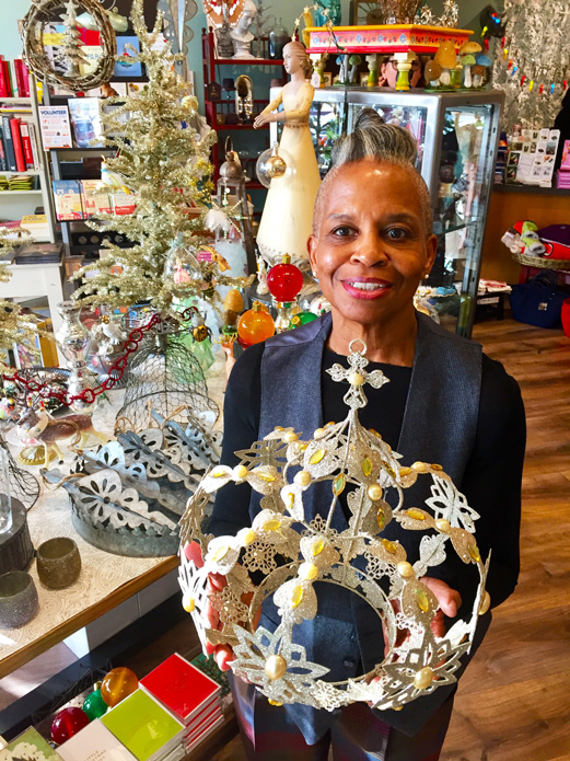 Mary presentst Crown at Marz Bazaar Gifts in South Pasadena